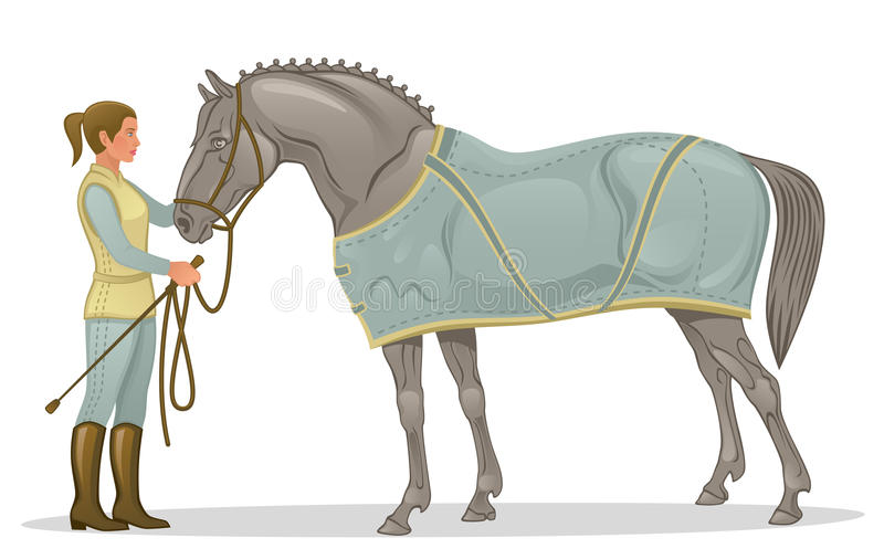 Girl with horse vector illustration