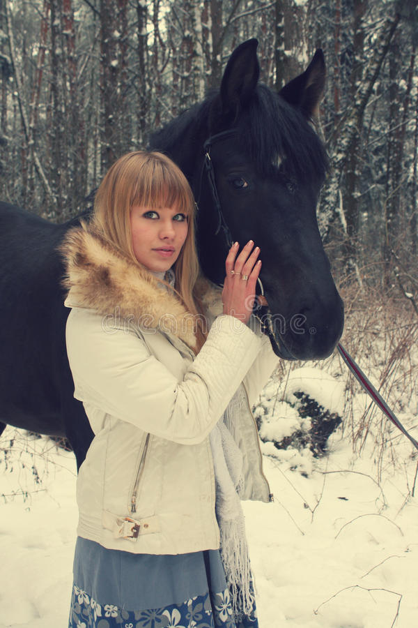 Download Girl with a horse stock photo. Image of forest, horse - 24832764