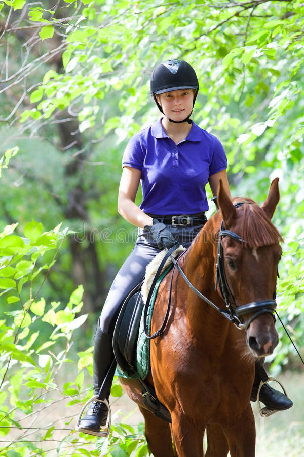 Girl on horse. Portrait of young horsewoman and brown horse royalty free stock photography