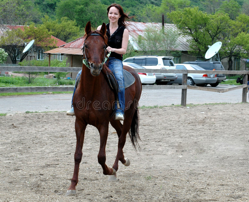 Girl and horse. Girl sitting on the horse royalty free stock images