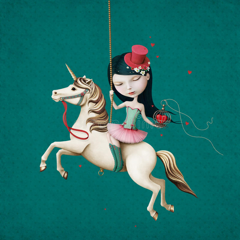 Girl on horse royalty free illustration