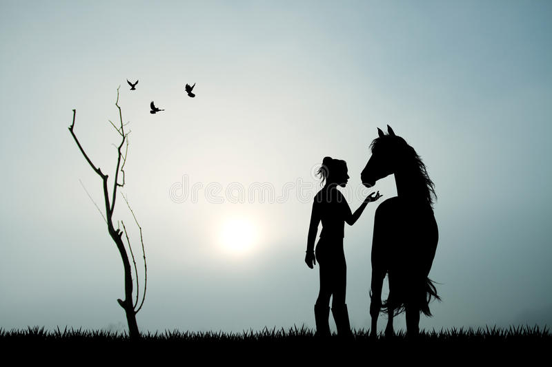 Girl and horse in the fog stock illustration