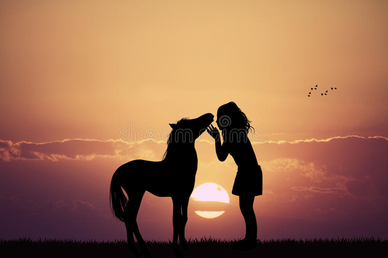 Girl and horse royalty free illustration
