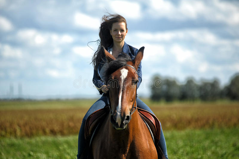 Girl on a horse. Girl in jeans suit on a horse royalty free stock image