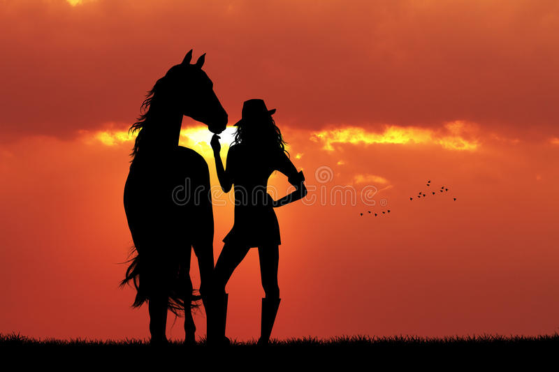 Girl and horse silhouette at sunset vector illustration