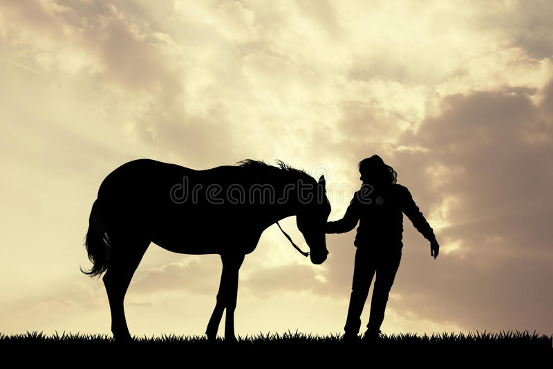 Girl with horse silhouette at sunset vector illustration