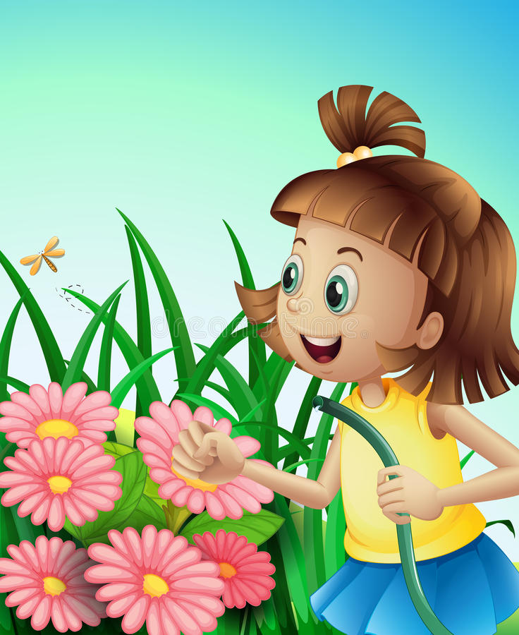 A girl with a hose at the garden vector illustration