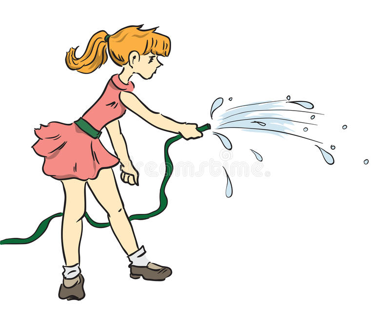 Girl with a hose stock illustration