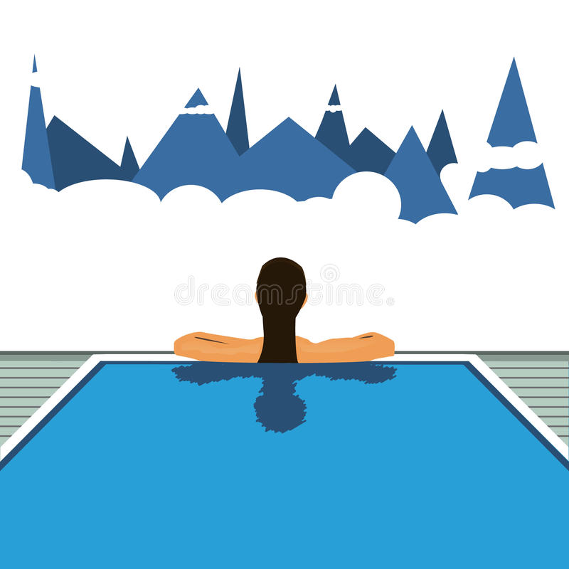 Girl in the hotel pool. Vector travel illustration royalty free stock photography