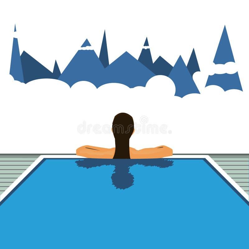 Girl in the hotel pool. Vector travel illustration stock photo