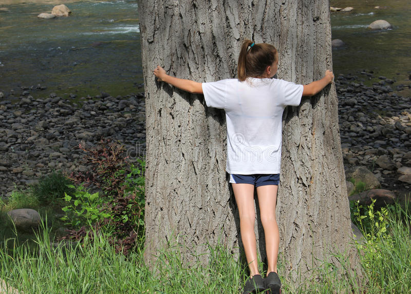Girl hugging a large tree. Teenage girl hugging a large tree near a river some would call tree hugger environmentalist royalty free stock photography