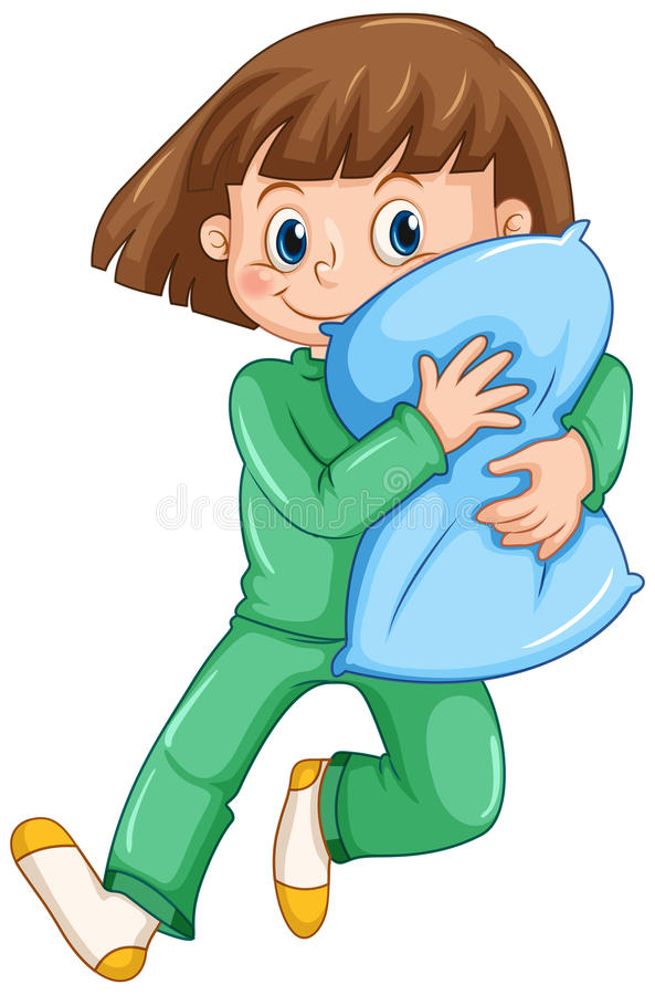 Girl hugging pillow at slumber party vector illustration