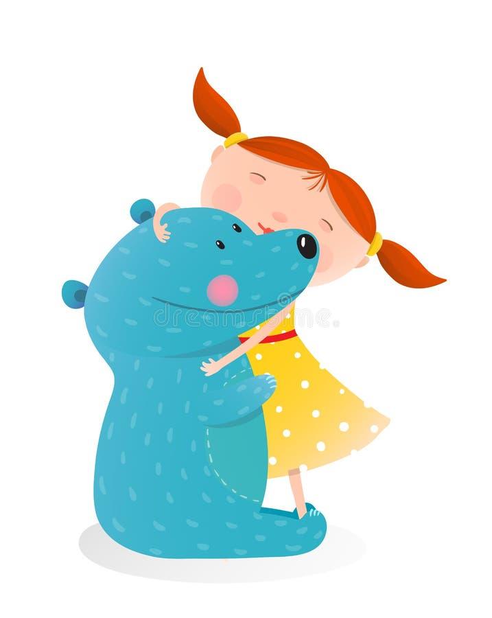 Girl hugging toy cute bear vector illustration