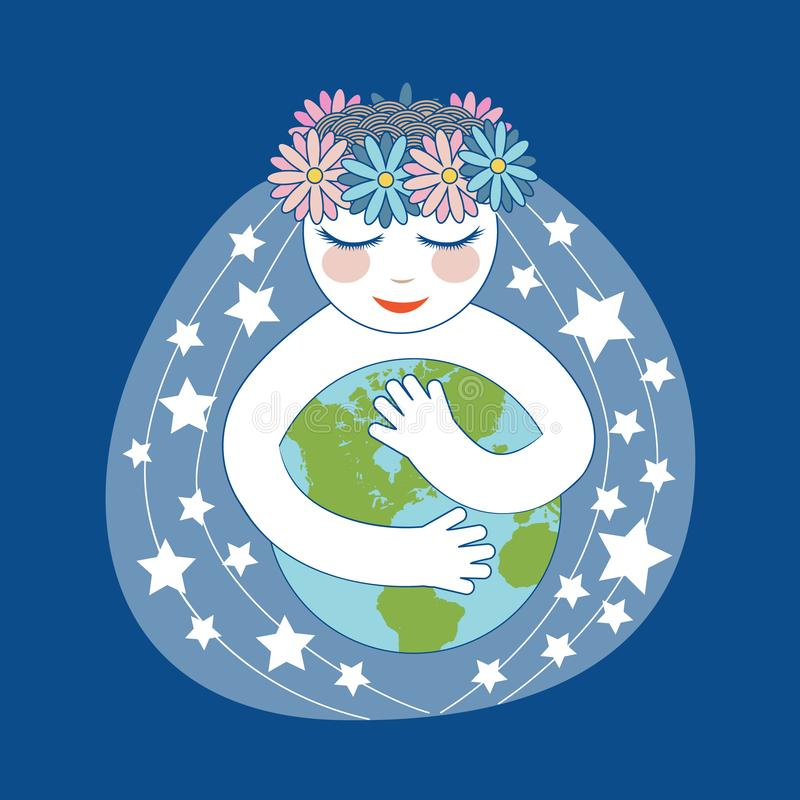 Girl Hugs And Taking Care Of The Earth royalty free illustration