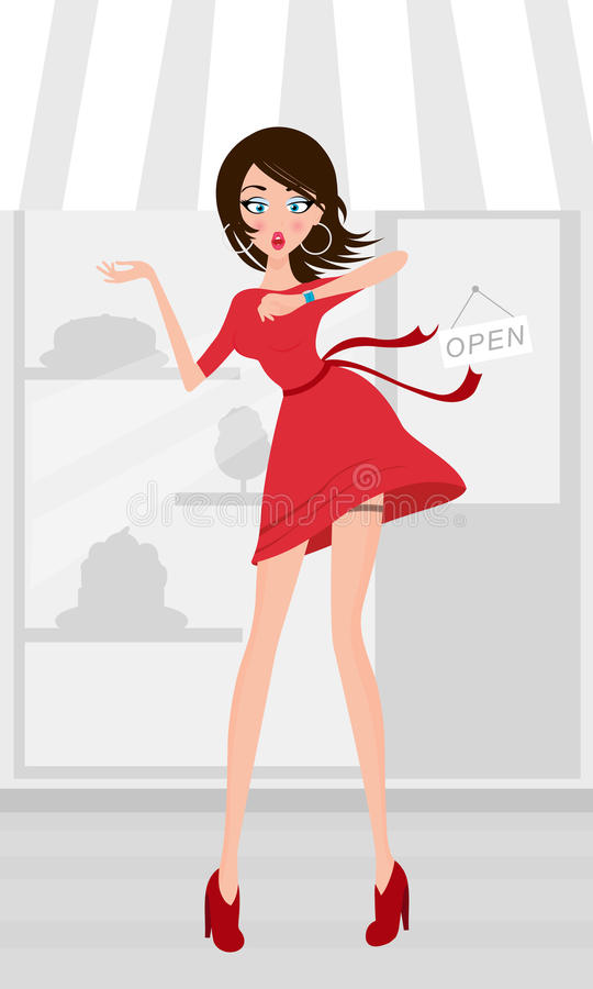 Girl in a hurry vector illustration
