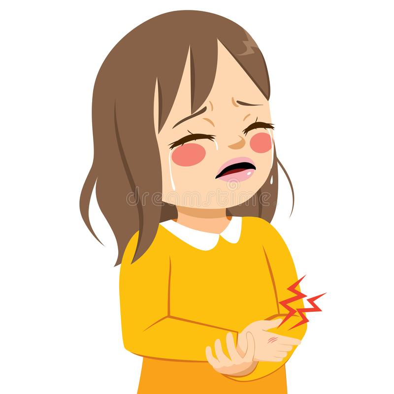 Girl Hurt Hand. Cute little sad girl crying in pain hurt with injury on hand vector illustration