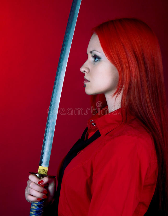 The girl I was with a Japanese sword royalty free stock photo