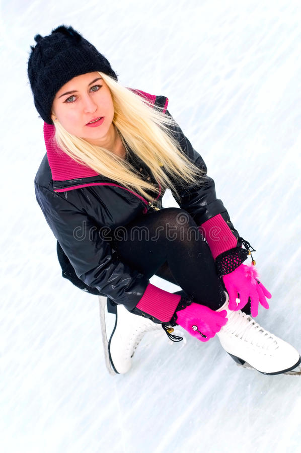 Girl on ice royalty free stock photo