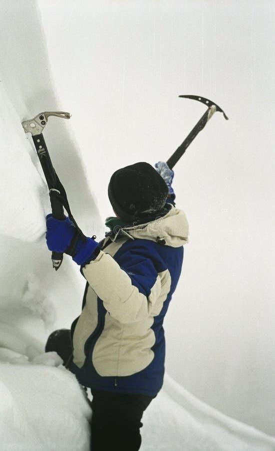Girl Ice Climbing stock photos