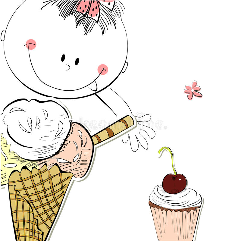 Download Girl with ice cream stock vector. Image of birthday, illustration - 22170736