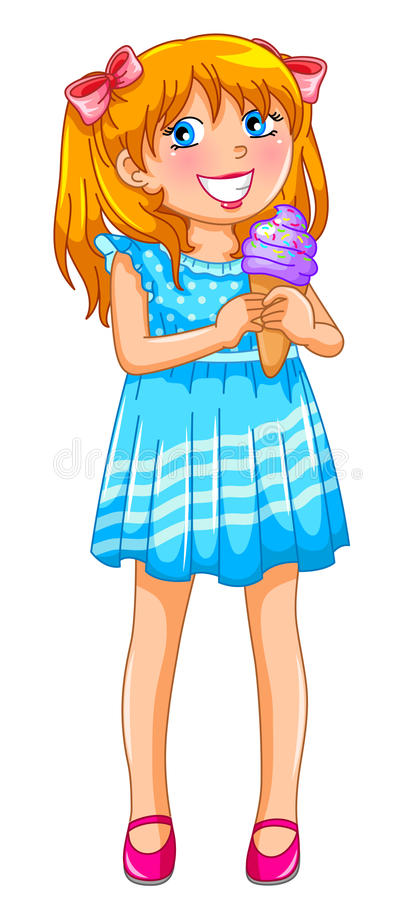Download Girl with an ice cream stock vector. Illustration of cheerful - 25626712