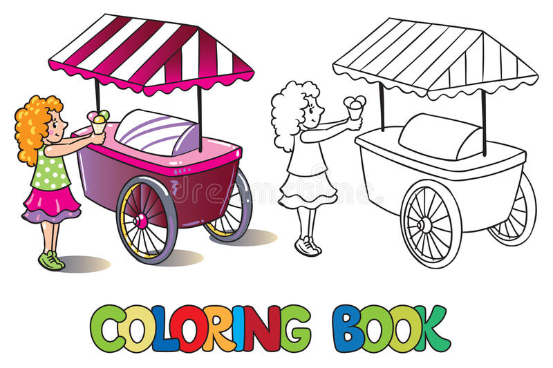 Girl with ice cream. Coloring book stock illustration