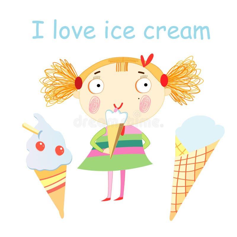Girl With Ice Cream Stock Photo
