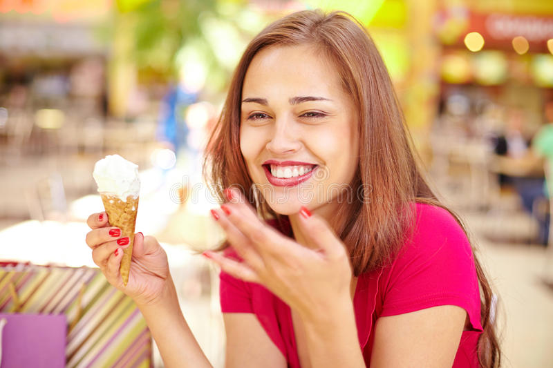 Girl with ice-cream royalty free stock photos