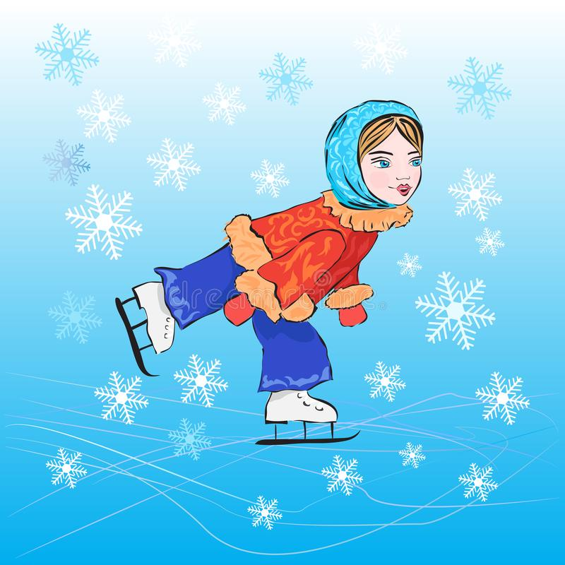 Girl ice skating illustration on the topic of winter sports vector illustration