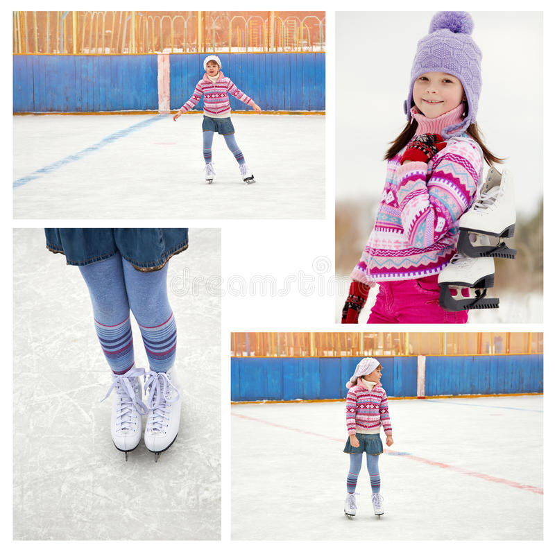 Girl ice skating on rink. Cute little girl in a hat and a sweater ice skating. child winter outdoors on ice rink. set photos royalty free stock photos
