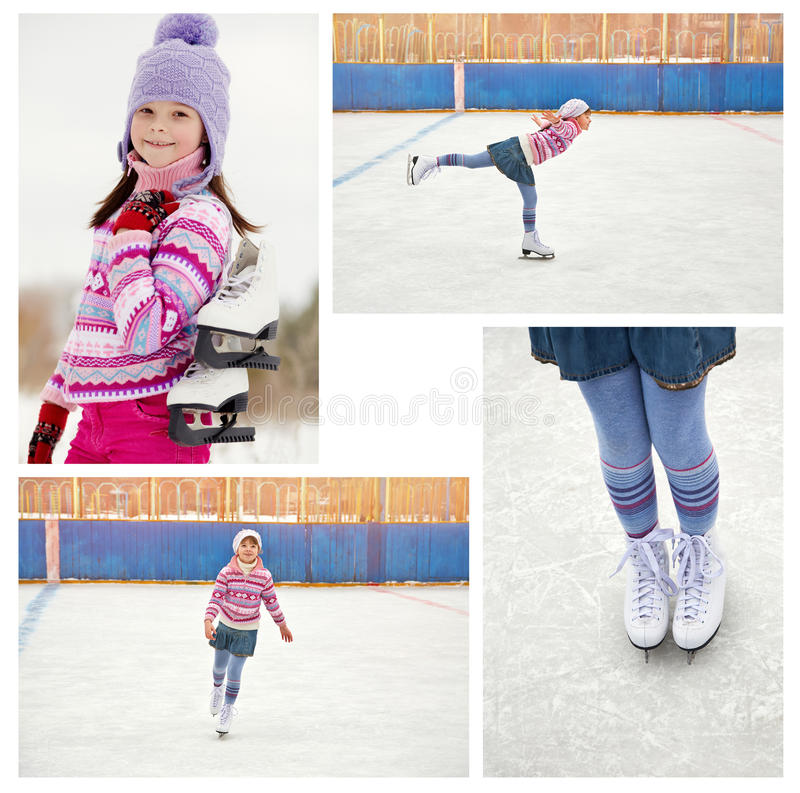 Girl ice skating on rink. Cute little girl in a hat and a sweater ice skating. child winter outdoors on ice rink. set photos royalty free stock image