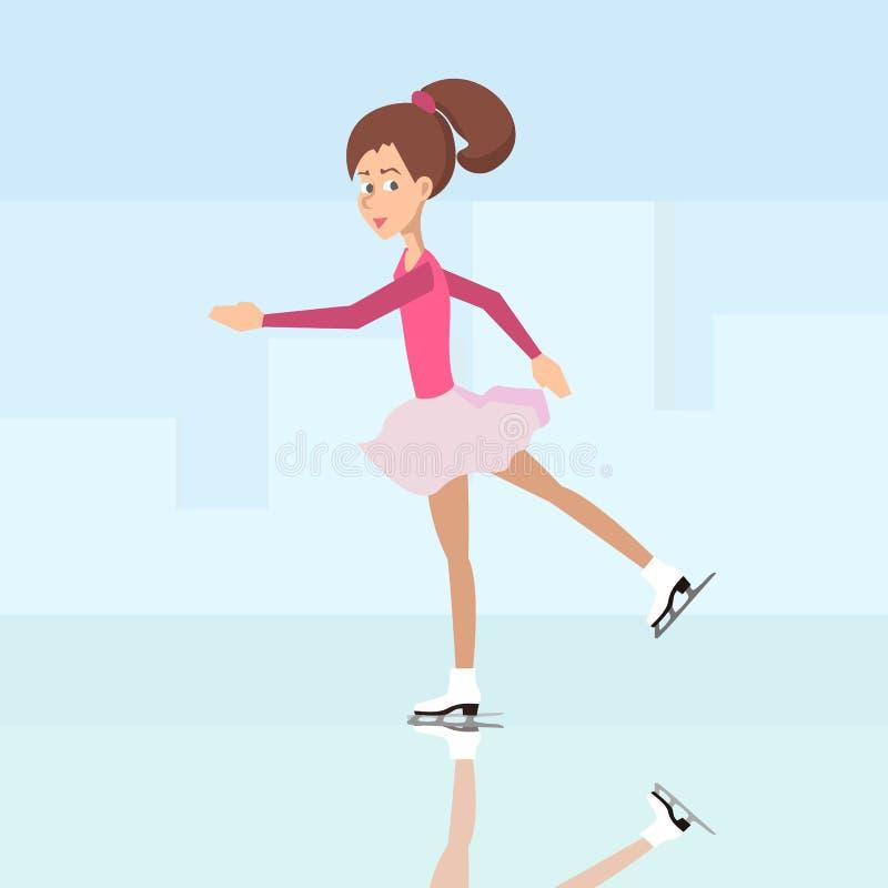 Girl ice skating vector cartoon stock illustration