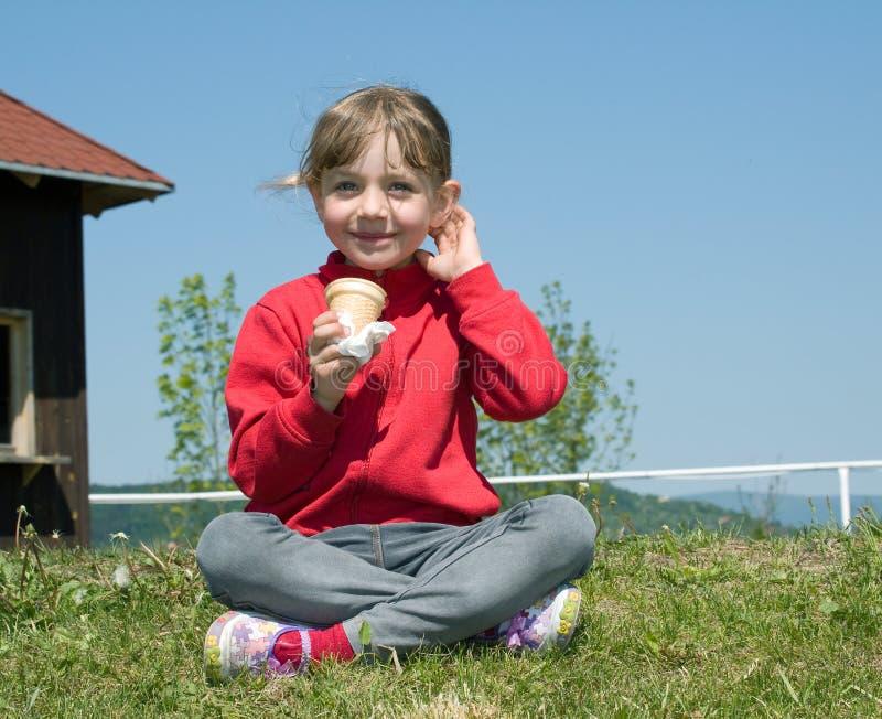 Girl with icecream royalty free stock photo