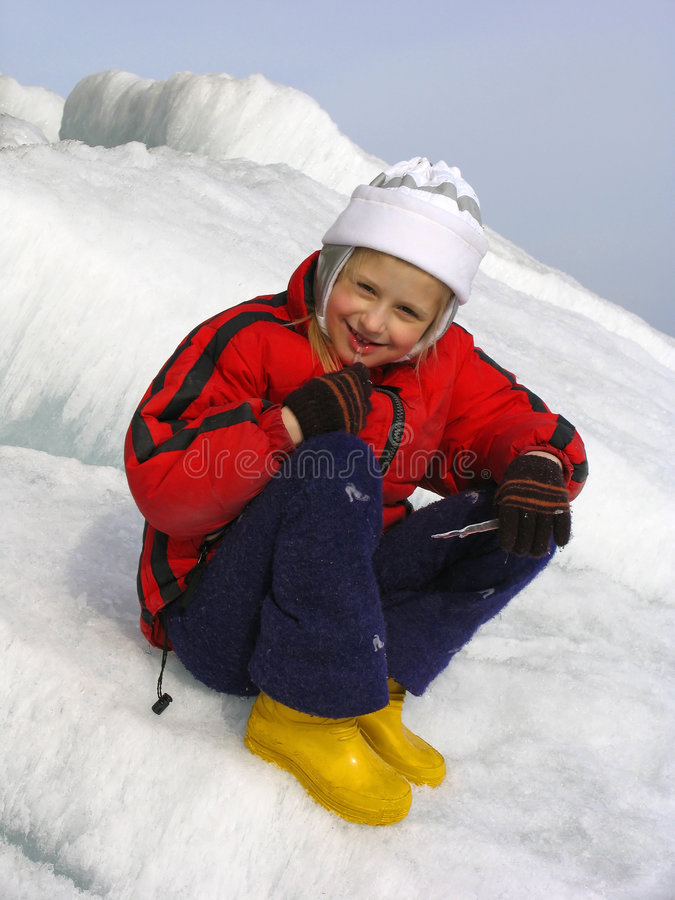 Girl with icicle stock photography