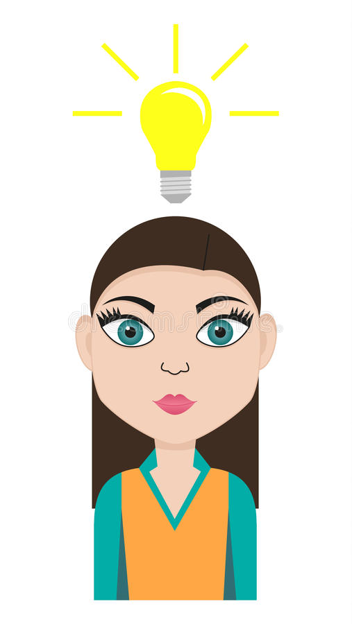 Girl with idea. Isolated young woman with an idea - represented by lightbulb above the head royalty free illustration