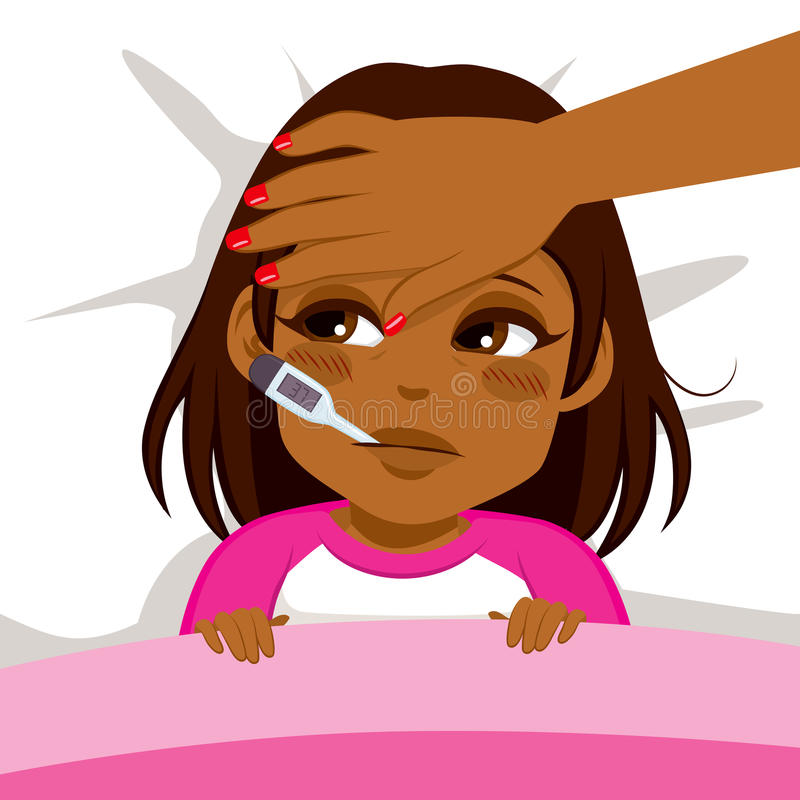 Girl Ill In Bed. Little African American girl ill in bed with thermometer and mother's head on front vector illustration