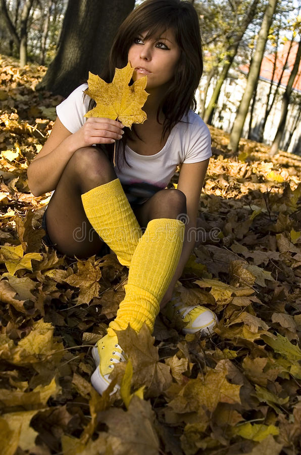 Free Girl In Autumn With Leaf Stock Photos - 12334223