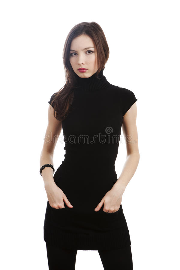 Free Girl In Black Dress Stock Photos - 13244533