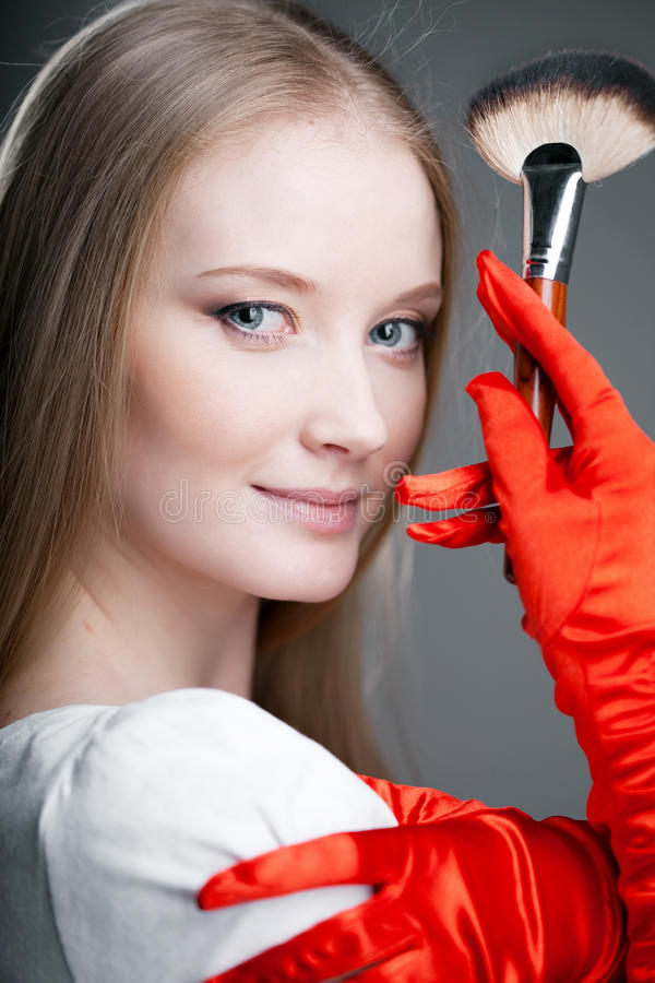 Free Girl In Gloves With Brush Royalty Free Stock Photo - 19418195