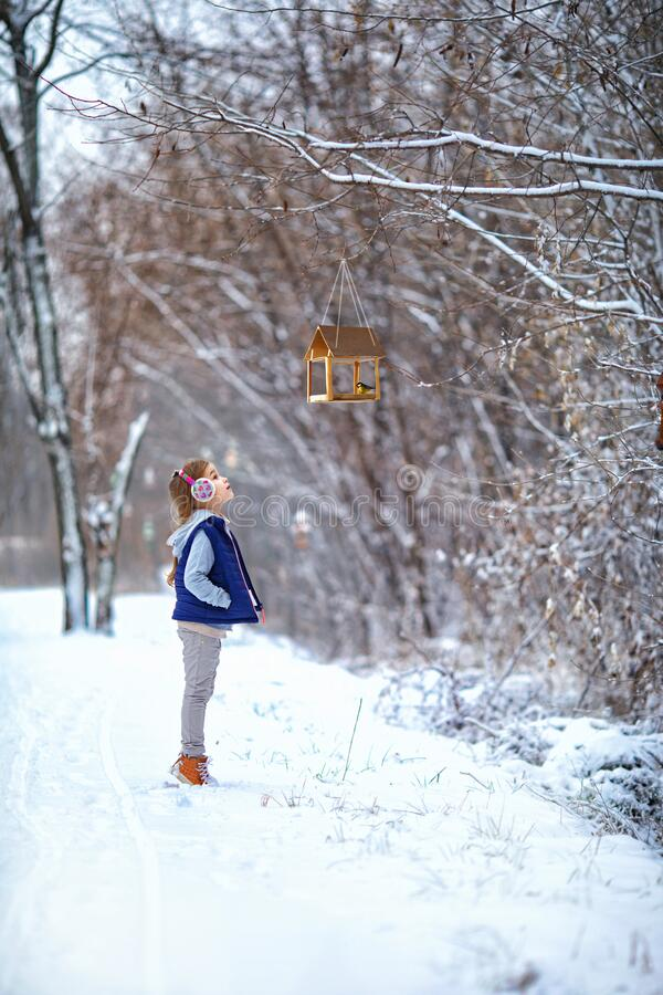 Free Girl In Headphones Near A Bird Feeder In Winter In Park Royalty Free Stock Images - 195923349