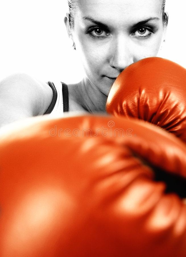 Free Girl In Red Boxing Gloves Royalty Free Stock Images - 3816479