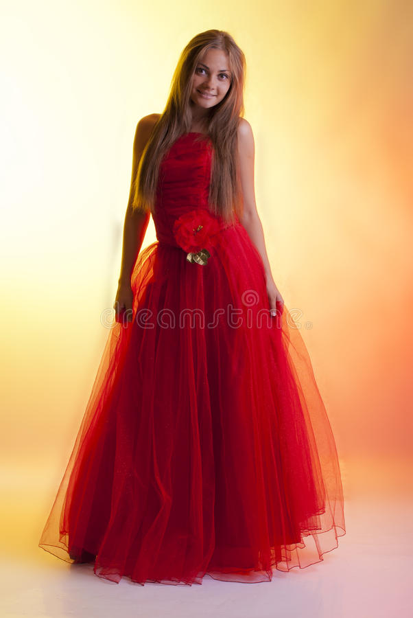 Free Girl In Red Dress Royalty Free Stock Image - 21383076