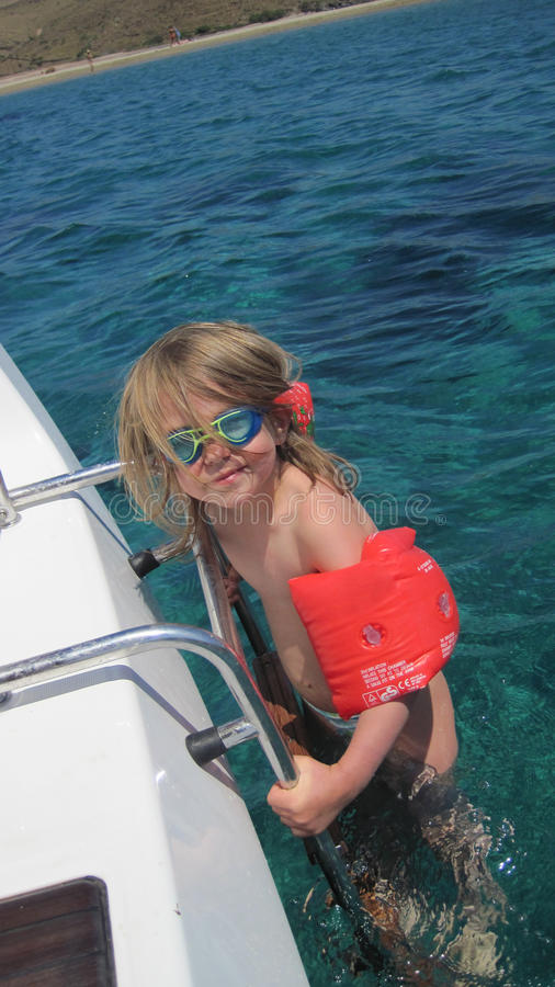 Free Girl In Sea With Armbands Stock Photo - 20790920