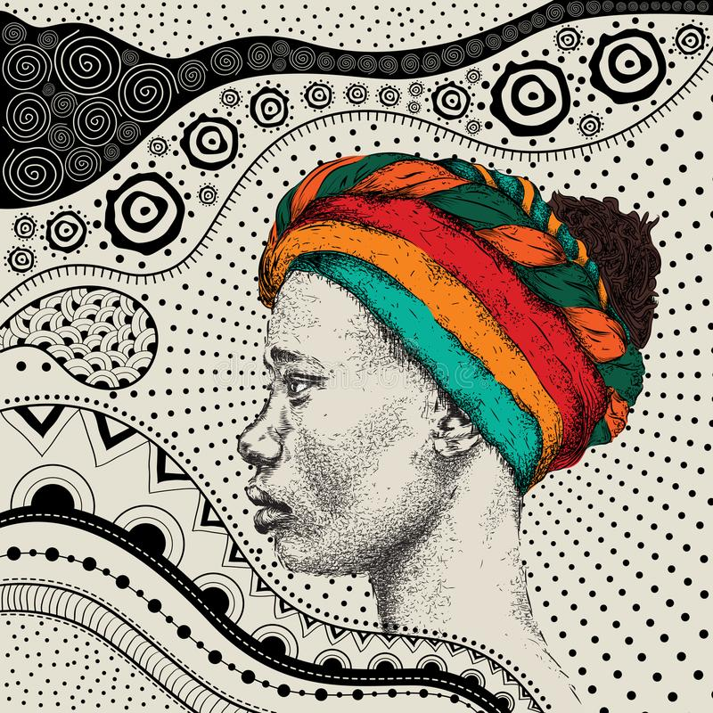 Free Girl In Turban With African Hand Draw Ethno Pattern, Tribal Background. Beautiful Black Woman. Profile View. Vector Illustration Royalty Free Stock Photography - 109696487