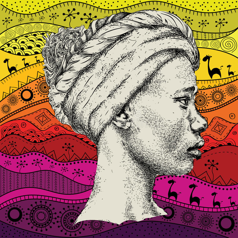 Free Girl In Turban With African Hand Draw Ethno Pattern, Tribal Background. Beautiful Black Woman. Profile View. Vector Illustration Stock Images - 85688544