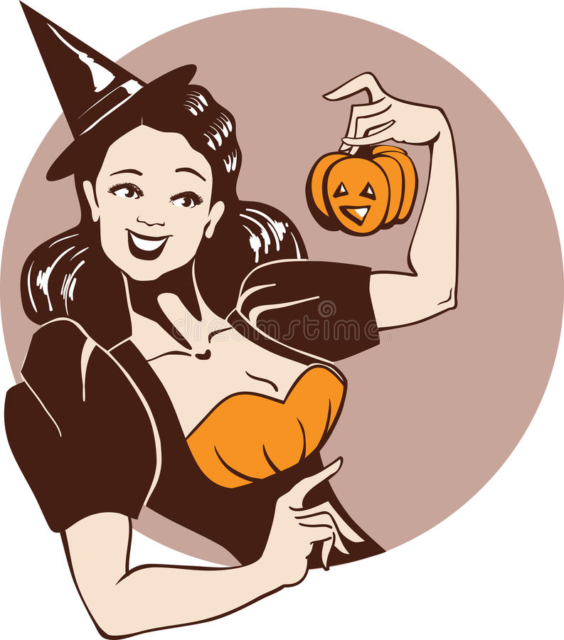Free Girl In Witch Costume With Pumpkin Royalty Free Stock Images - 26480319