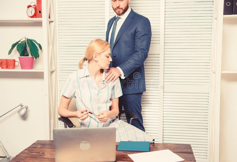 Girl indecent behavior. Abusive boss. Sexual harassment in business office. Girl indecent behavior. Abusive boss. Sexual harassment in business office royalty free stock photo