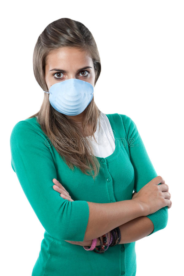 Girl infected with influenza A. And mask isolated over white stock images