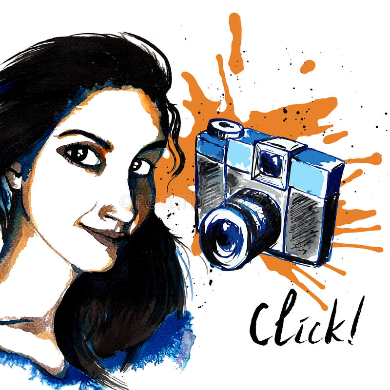 Girl ink hipster camera. Smiling hipster character girl ink drawn with photo camera vector illustration stock illustration