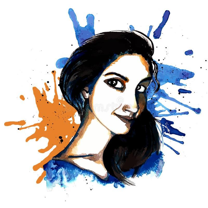 Girl ink hipster vector illustration